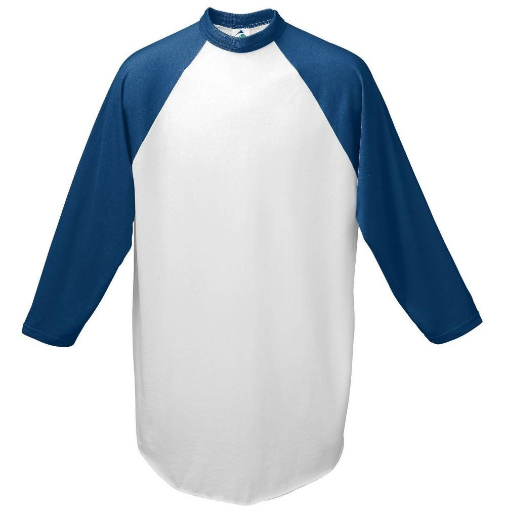 Augusta Baseball Jersey Raglan sleeves White Navy Youth LG