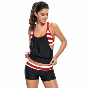 Swimwear Stripe Layered Swimsuit Tankini
