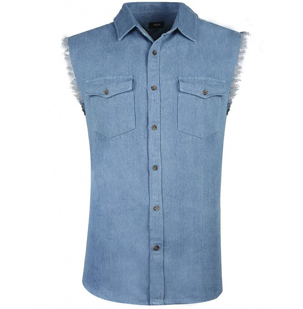 NUTEXROL Sleeveless Denim Shirt Pockets