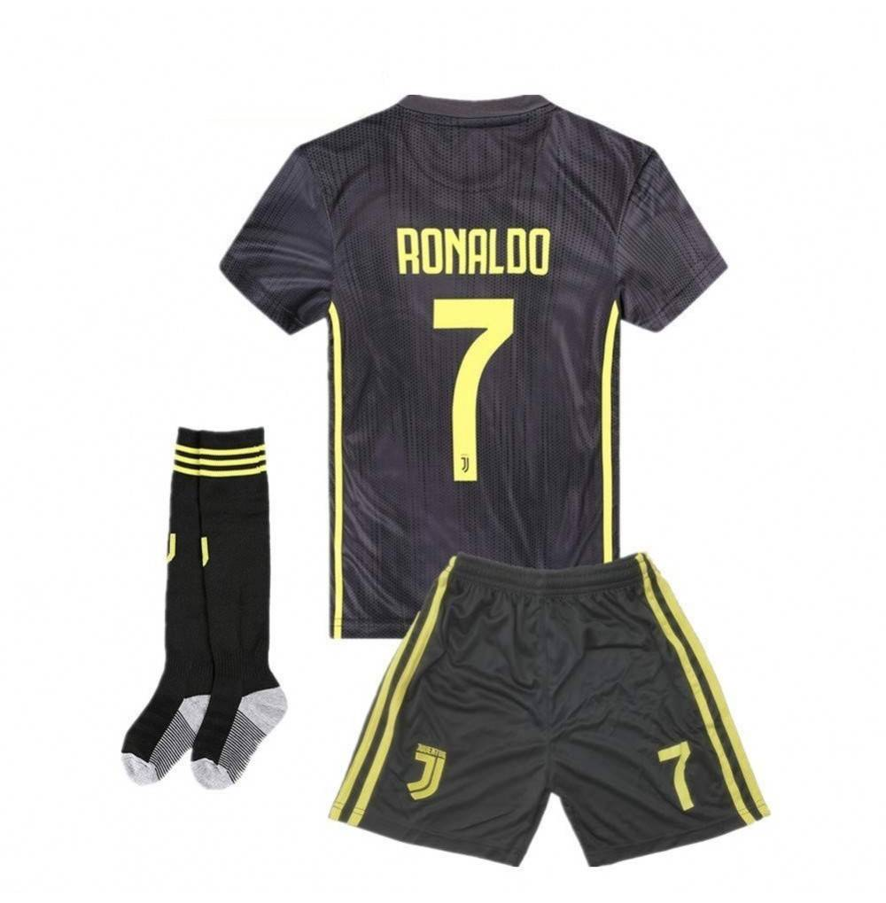 outlet store d1d97 c1a62 Juventus Ronaldo 7 Kids/Youth Away Soccer Jersey & Shorts & Socks 2018-2019  Black - CH18I4ZS6EA Size 7-8Y/Size22