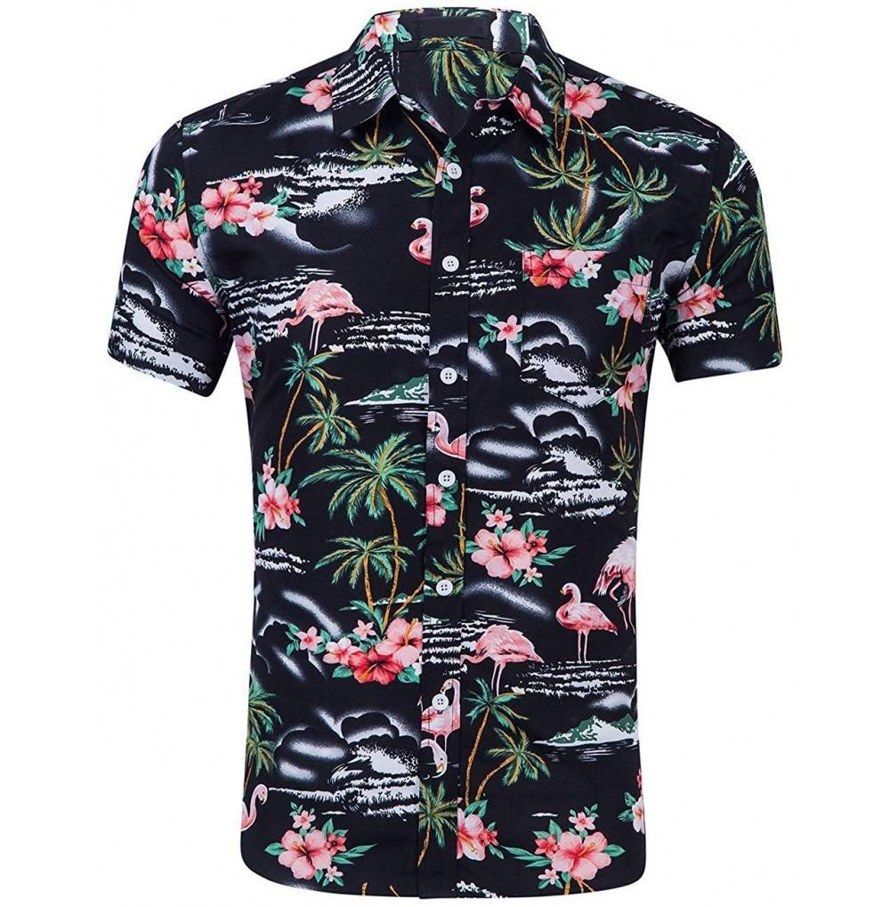CATERTO Flowers Flamingos Casual Hawaiian