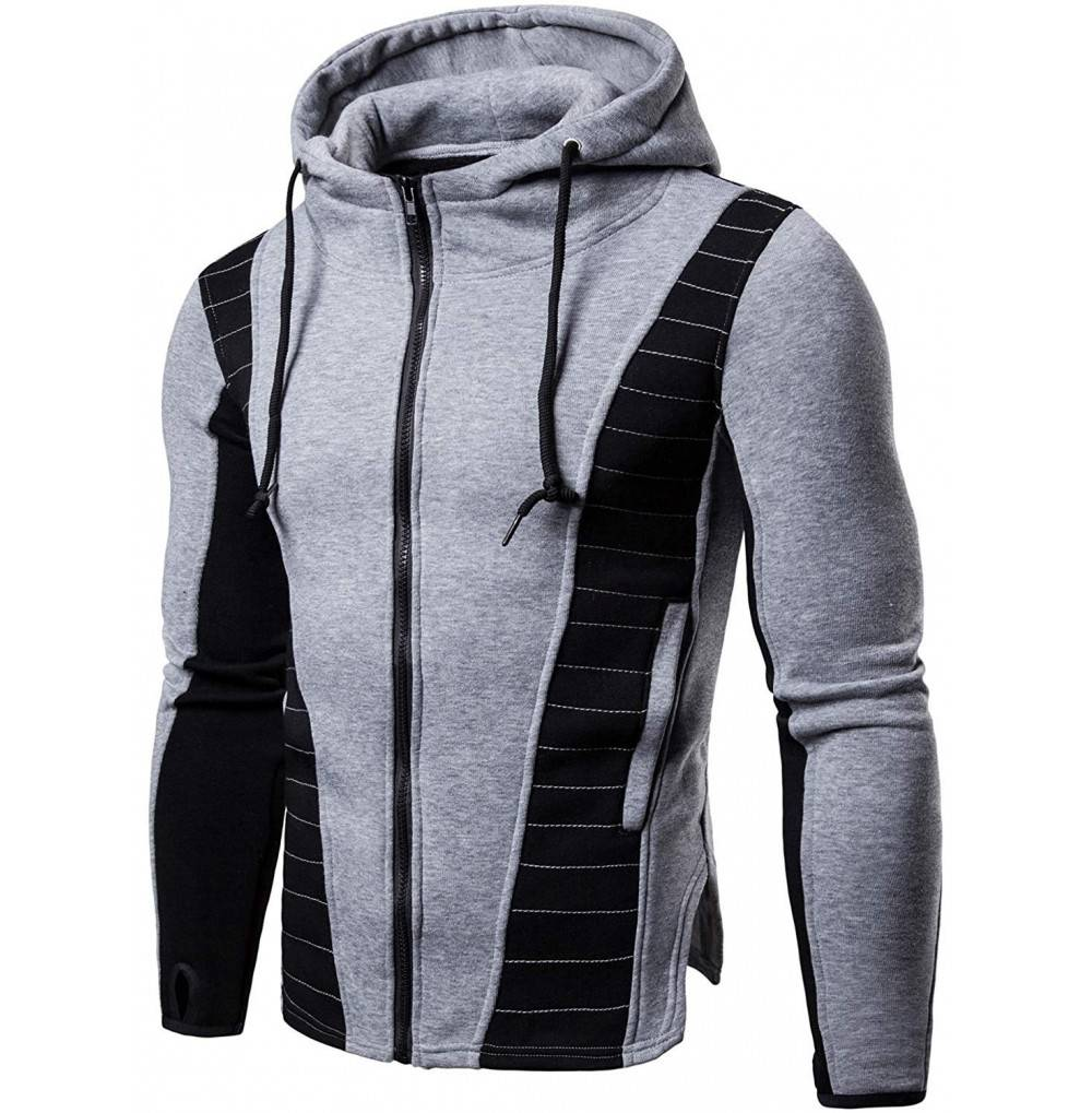HENGAO Mens Spliced Hooded Sweatshirt