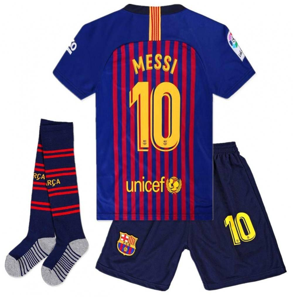 quality design 82d00 02af5 Barcelona 10 Messi 2018-2019 Home Soccer Jersey Kids/Youth Soccer Jersey &  Shorts & Socks Color Blue/Red - CH18N7RZMY6 Size 7-8Years