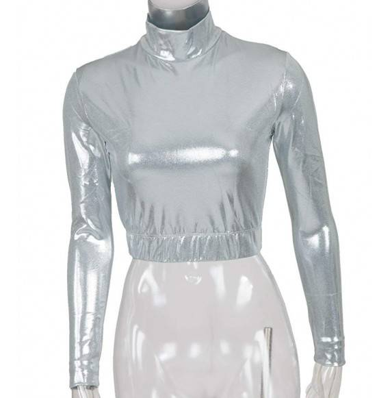 Metallic Mock Turtleneck Midriff Silver