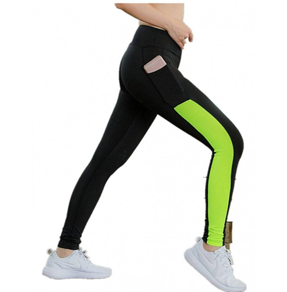 Women's High Waist Yoga Capri Leggings Exercise Workout Pants Gym Tights Black Green CR18DAUHYNQ Size Small