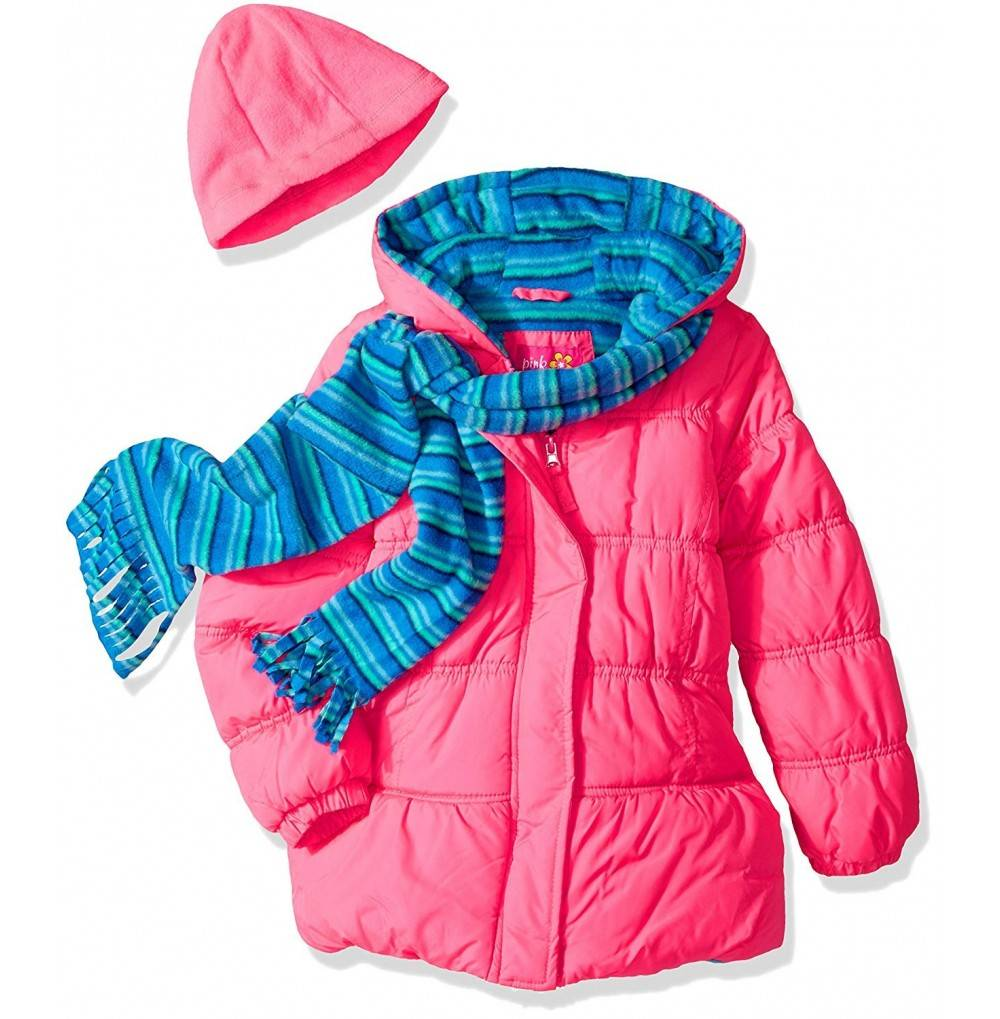 Pink Platinum Girls Stripe Puffer