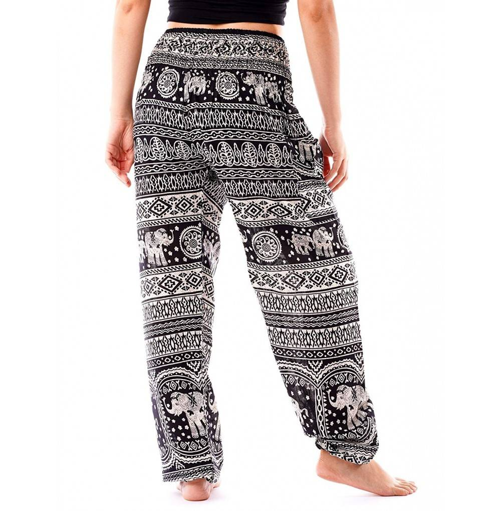 Women S Smocked Waist Yoga Pants Hippies Harem Bohemian Boho Clothing Styles Black Cl18eyknze2
