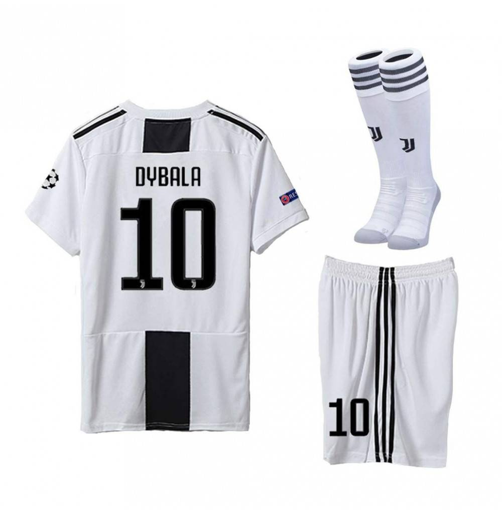 size 40 a016e c4e2f Juventus 2018/2019 Season 10 Dybala Home Youths/Kids Soccer Jersey & Shorts  & Socks White/Black - CT18L5ERNMO Size 6-7years (114-120cm)