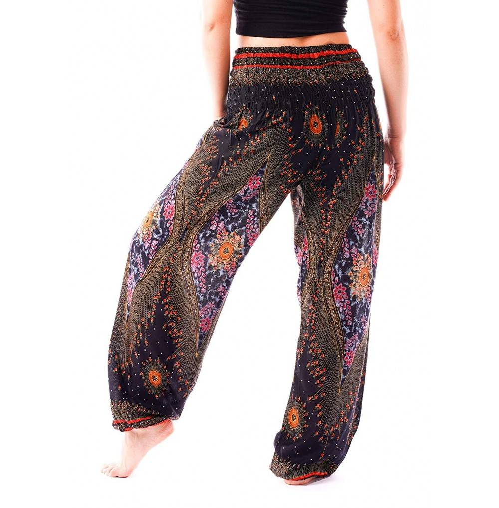 Women S Smocked Waist Yoga Pants Hippies Harem Bohemian Boho Clothing Styles Peacock Cl18eyn5wor