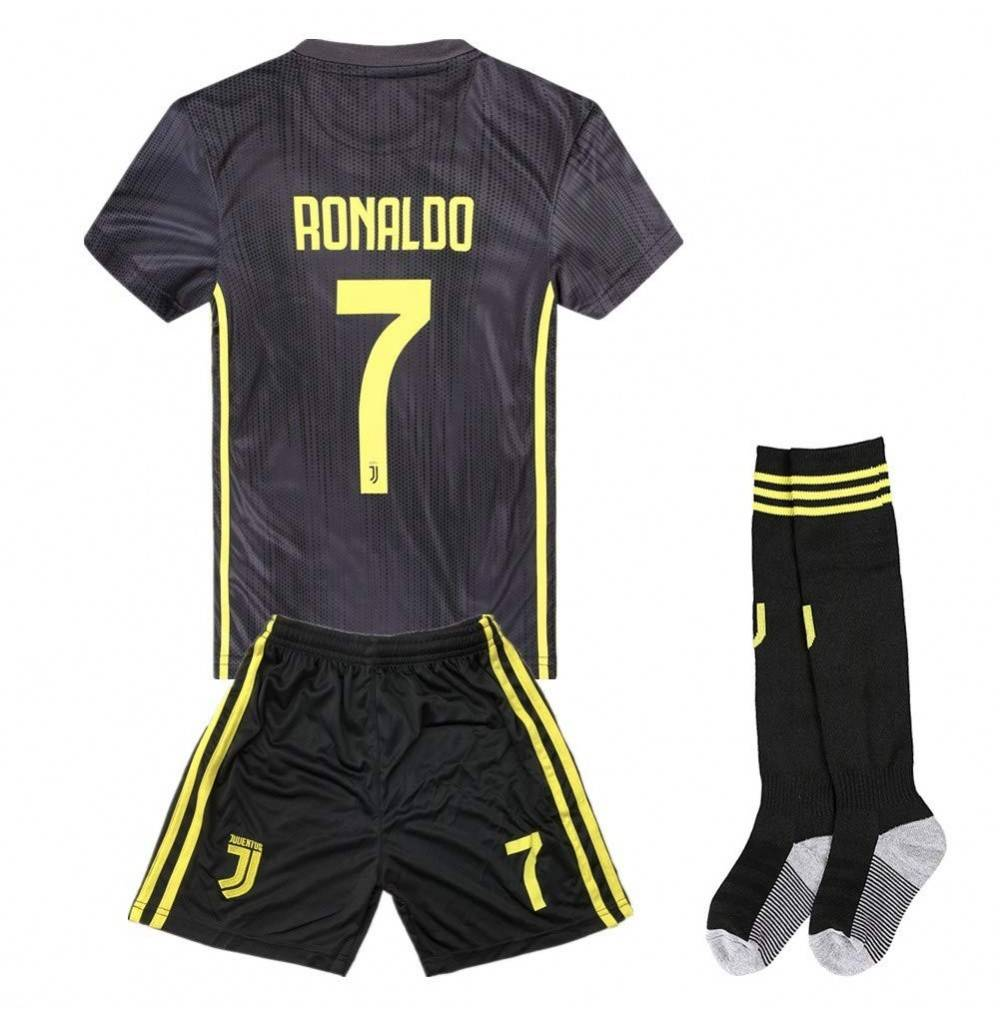 online store fca2b 93dba 2018-2019 Season Ronaldo 7 Juventus Away Kids & Youth Soccer Jersey &  Shorts & Socks Color Black - C618KLZ60IQ