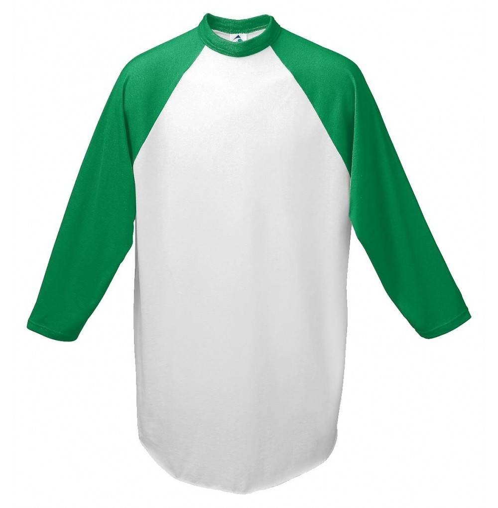 Augusta Baseball Jersey Raglan sleeves White Green Youth SM